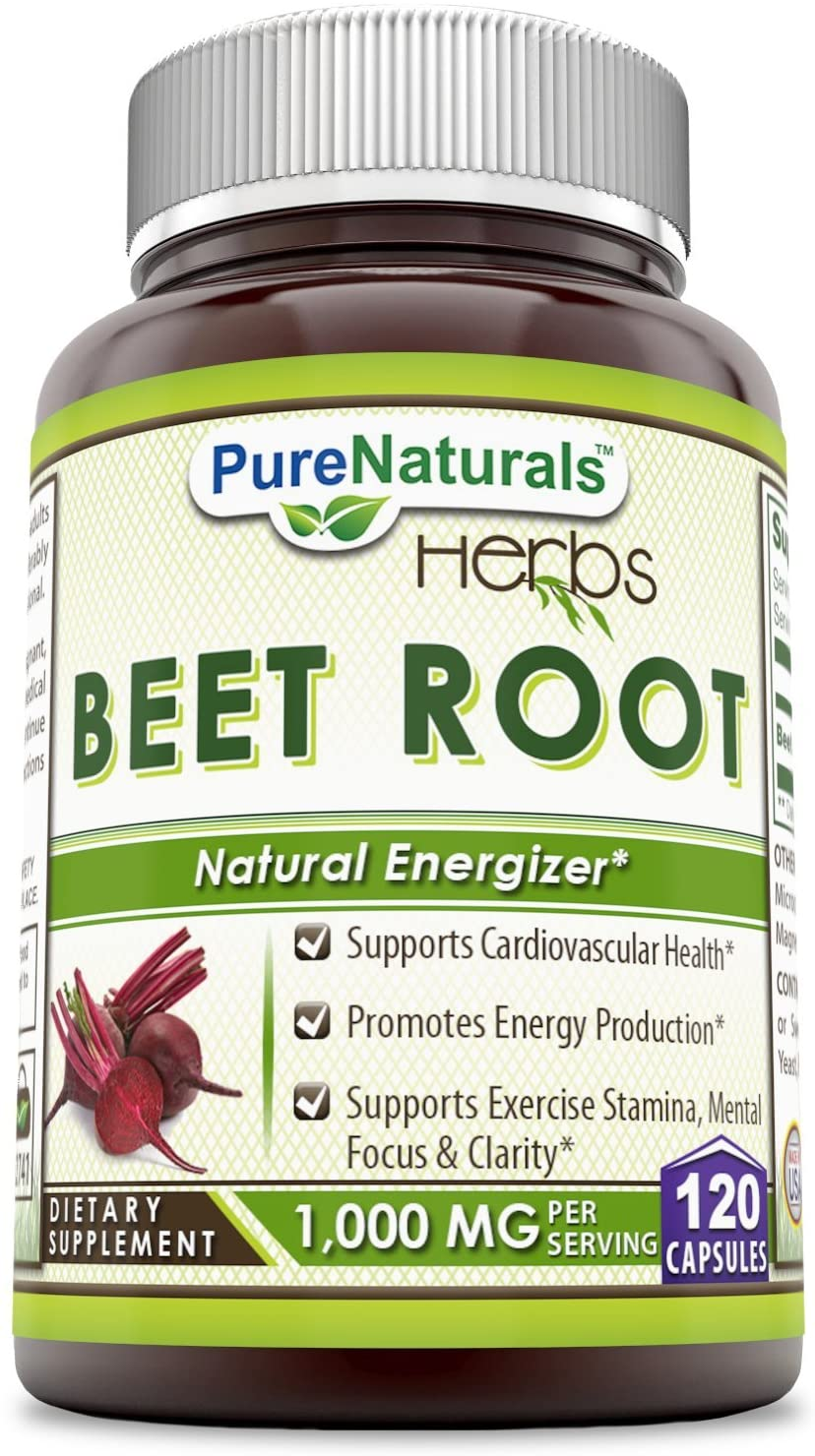 Pure Naturals Beet Root 1000 Mg 120 Capsules, Support Cadiovascular Heath,Promotes Energy Production, Support Exercise Stamina,Mental Focus & Clarity