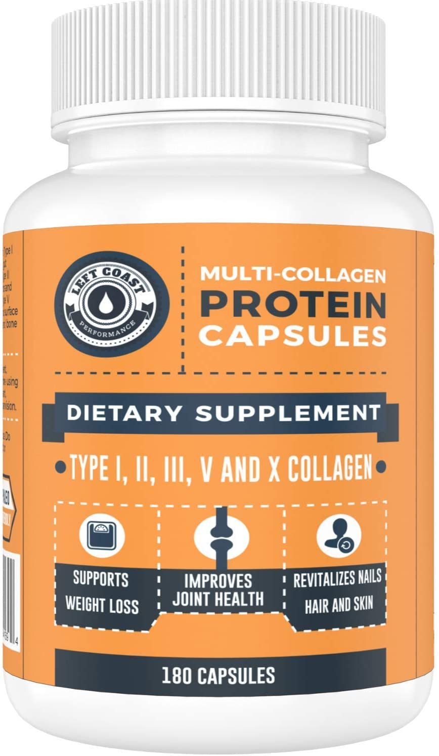 Multi Collagen Caps (Collagen Capsules 1 2 3 5 10) - 180 Count Collagen Peptide Pills. Grass Fed Bovine, Chicken & Eggshell Collagen Capsules Protein Supplement, by Left Coast Performance