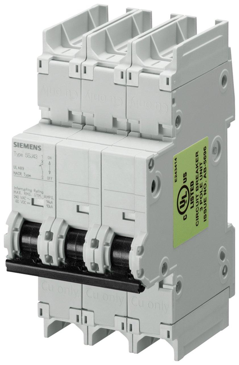 Siemens 5SJ43258HG41 Miniature Circuit Breaker, UL 489 Rated, 3 Pole Breaker, 25 Ampere Maximum, Tripping Characteristic D, DIN Rail Mounted, Type NSJ, 240 VAC, 125 VDC
