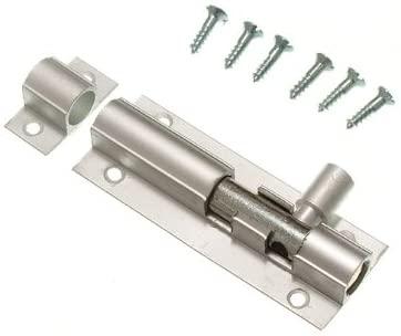 5 Of Door Bolt Barrel Slide Lock 63Mm 2 1/2 Inch Aluminium + Screws