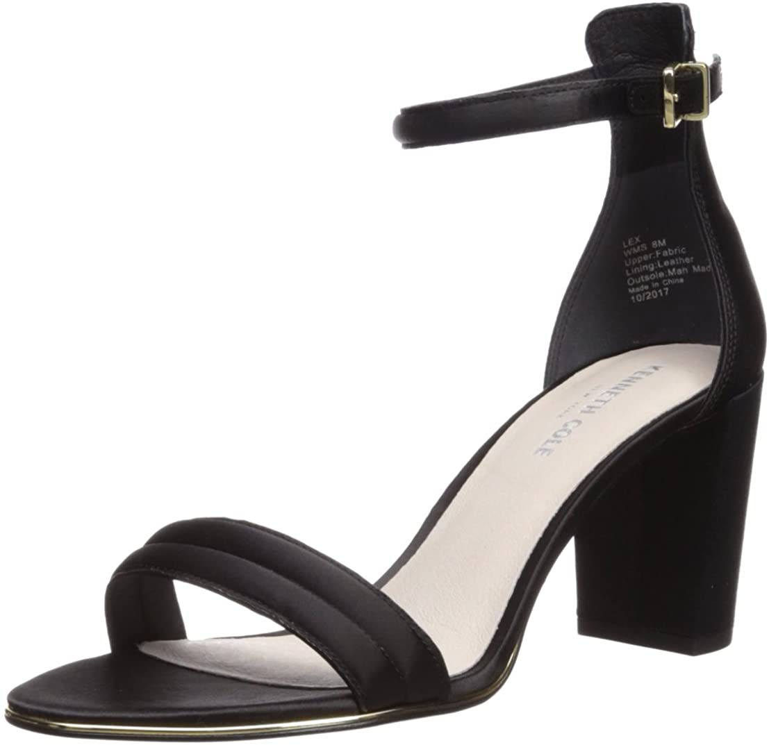 Kenneth Cole New York Women's Lex Block Heeled 2 Piece Sandal with Buckle Closure, Black, 10 Medium US