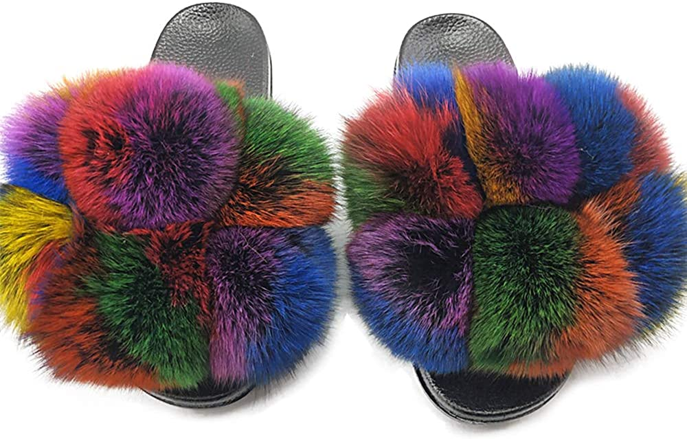 Women Real Fur Ball Feather Vegan Leather Open Toe Single Strap Slip On