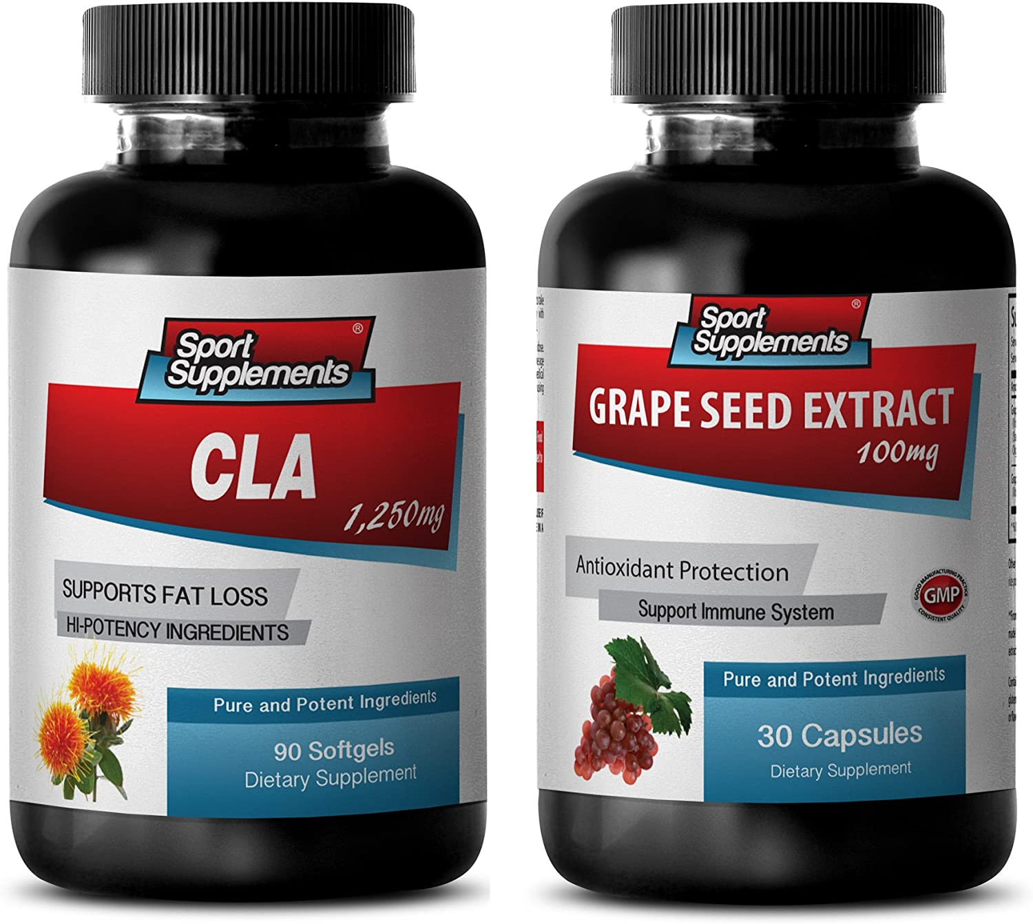 Anti-Aging Capsules - CLA - Grape Seed Extract - Combo - Grape Seed Powder nautral - (2 Bottles Combo)