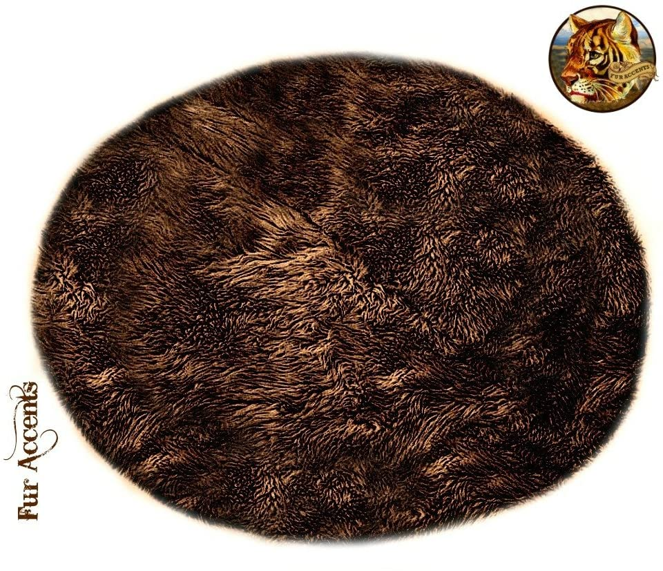 Dark Brown Shag Faux Fur Area Accent Throw Rug - Round - Faux Sheepskin - Bear Skin - Fur Accents Carpet - USA (30