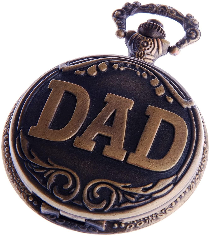 Dad Pocket Watch Quartz Movement with Chain White Dial Arabic Numerals Full Hunter Design PW-48