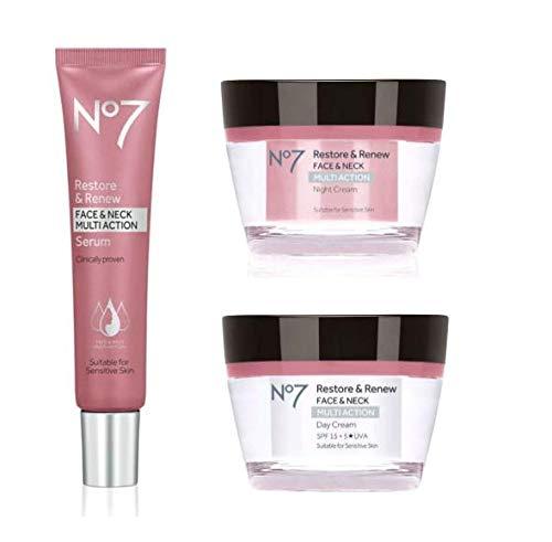 No7 Restore & Renew FACE & NECK MULTI ACTION Day/Night Creams/Serum