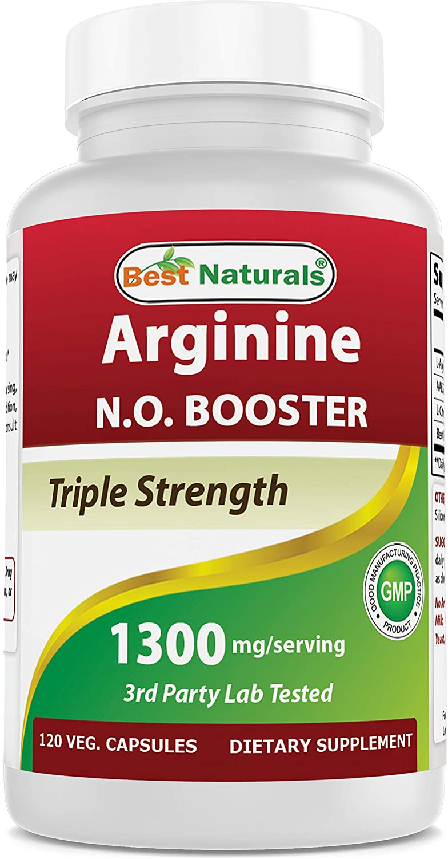 Best Naturals L-Arginine NO Booster Triple Strength 1300 mg Serving 120 Veg Capsules