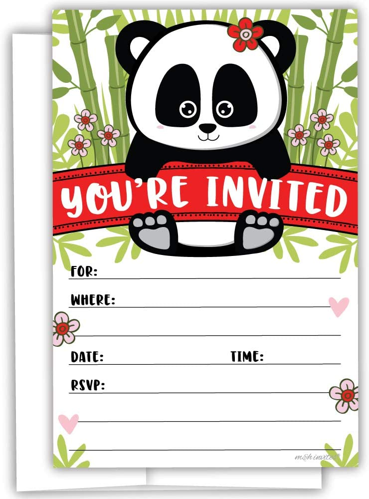 Panda Invitations (20 Count) With Envelopes - Kids Birthday or Girl Baby Shower