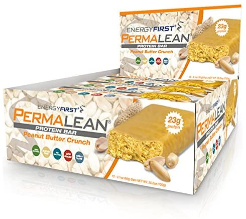 Permalean Peanut Butter Crunch Whey Protein Isolate Bars | 23g Protein Per Bar | Gluten Free | Non-GMO | 4g Sugar | 100% Natural | Low Carb | High Fiber Bars - Box of 12 by EnergyFirst