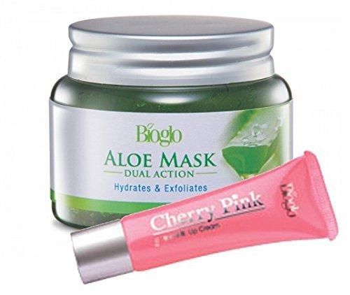Bioglo Refreshing Aloe Mask Dual Action Hydrates & Exfoliates (100g) FREE Bioglo Cherry Pink (10g)