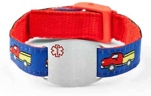 StickyJ USA Trucks Sport Strap Medical Alert Bracelet for Kids