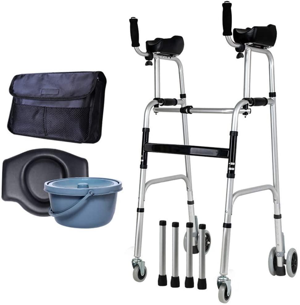 HTL Walking Aid Wheel Walking Frame with Armrest Support Pad,Elderly People Foldable Walker Auxiliary Walker- Lightweight Aluminium - Lower Limb Rehabilitation Training,C