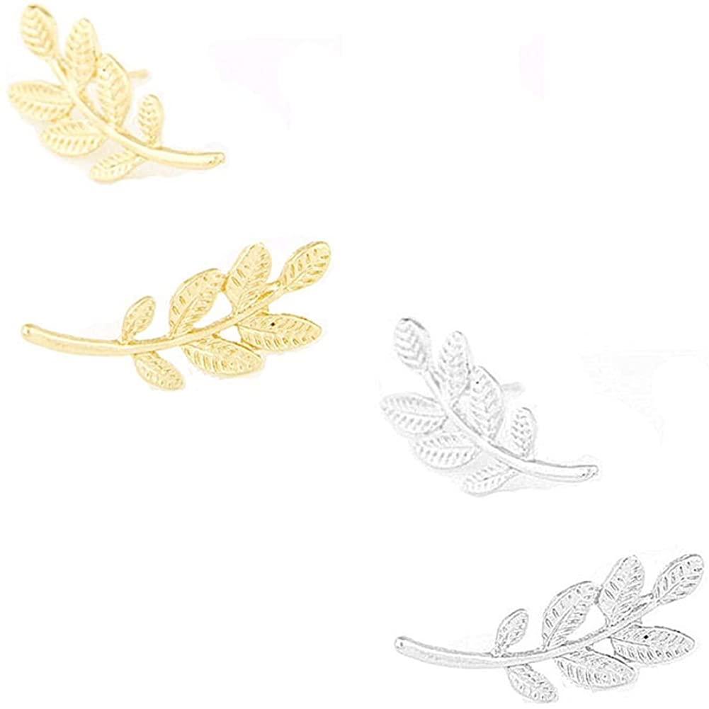 2 Pair Ear Crawler Leaf Earrings for Women, Tiny Leaf Stud Earring Jewelry(Gold+Silver)