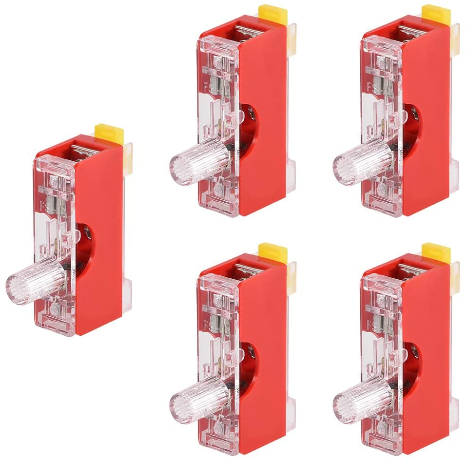 uxcell Fuse Holder FS-101 Single Pole with Indicator Light 6mm x 30mm Fuse Included 250V 10A Red 5Pcs