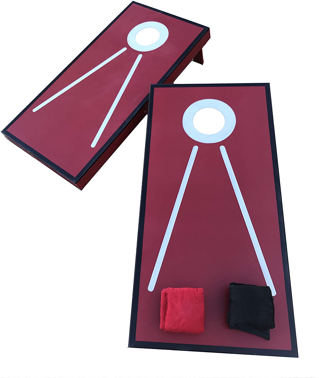 Beiler Custom Cabinets Premium Corn Hole Set, Durable Plywood Construction (Red and Black)