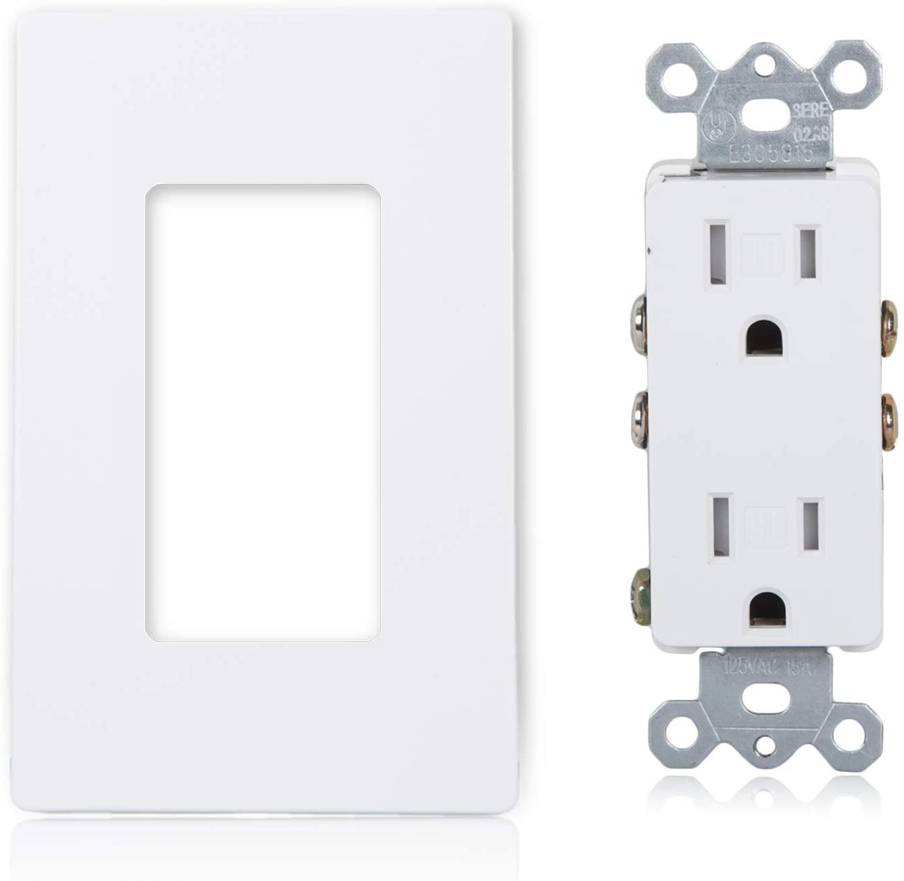 Maxxima Tamper Resistant Electrical Wall Outlet, with Screwless Wall Plates (Pack of 10)