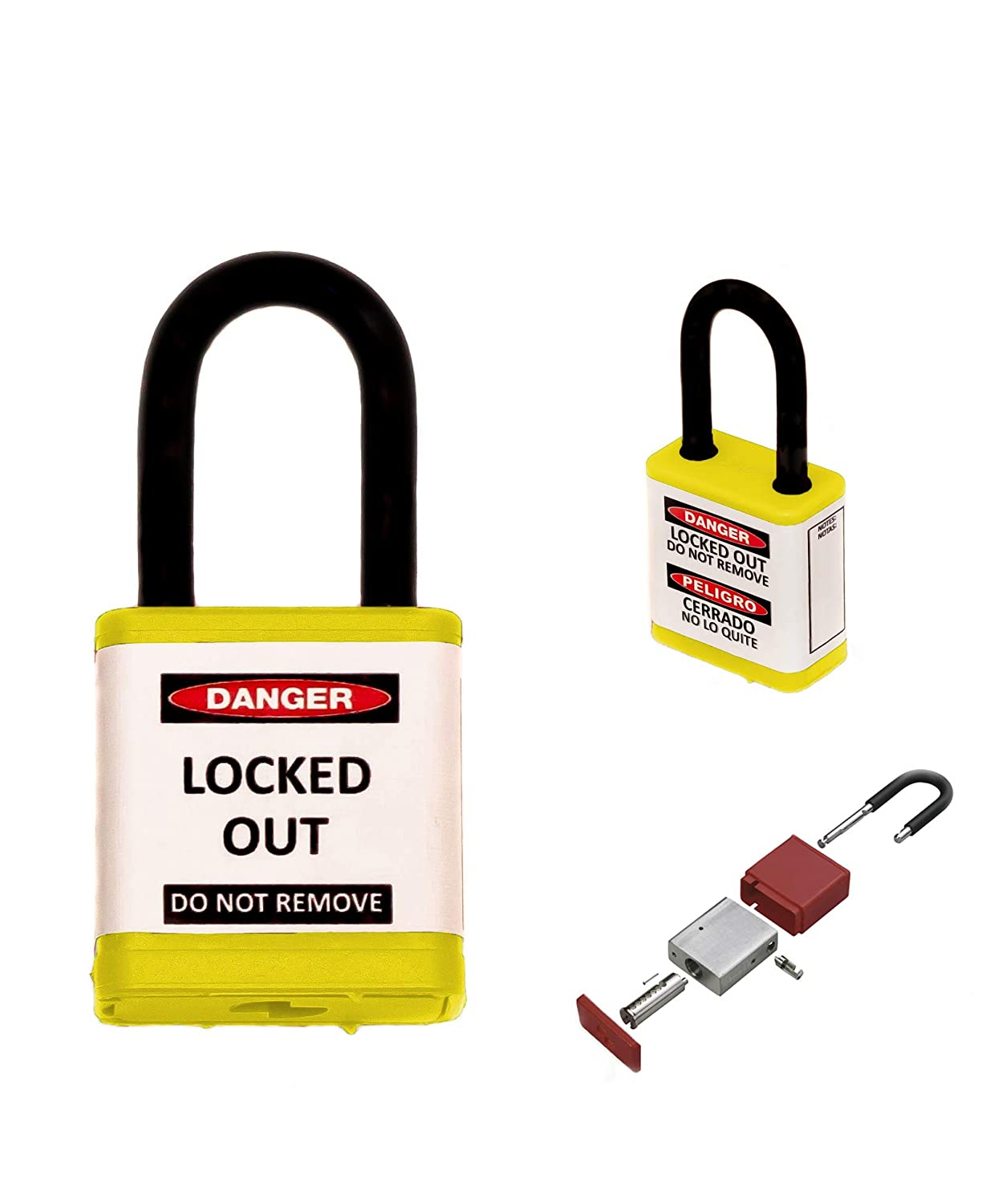 Zing Safety Padlock, Keyed Different, Yellow, 1.5