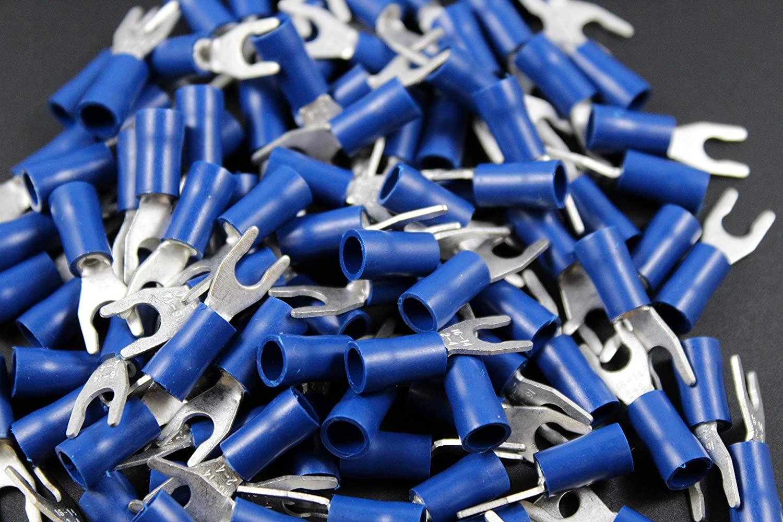 14-16 Gauge Vinyl Locking Spade # 8 Connector 200 PK Blue Crimp Terminal AWG