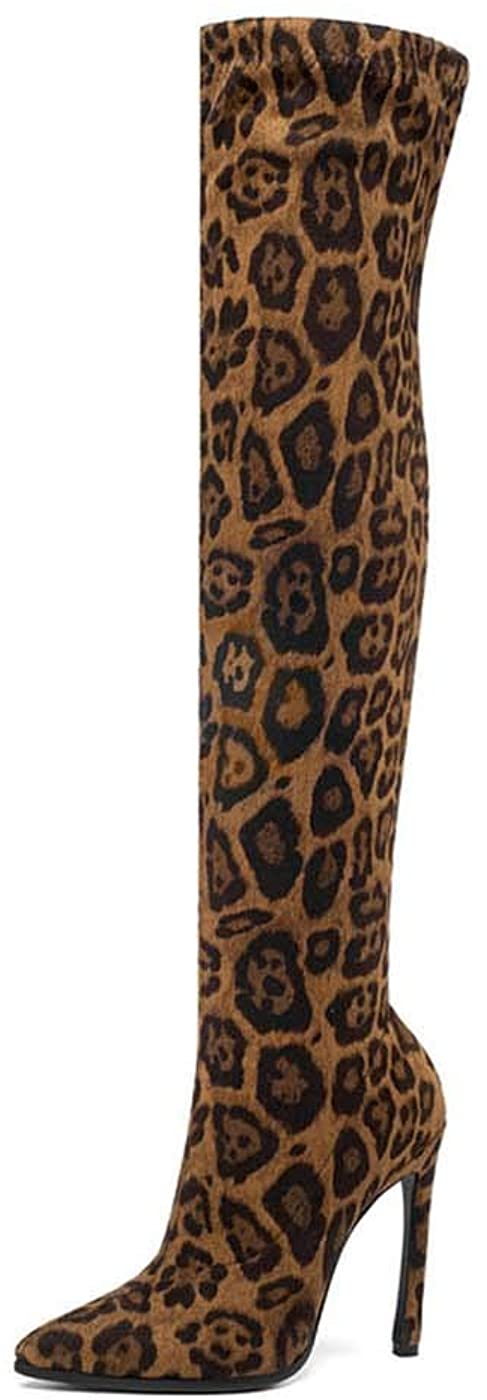 empty 2020 Winter Over The Knee Women Boots Stretch Fabrics High Heel Slip on Shoes Pointed Toe Woman Long Boots Size 34-43 Leopard-Brown 7
