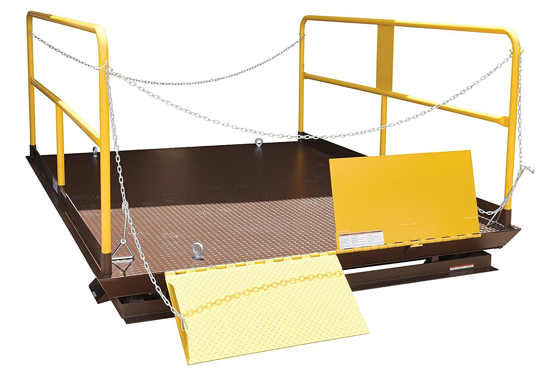 Vestil WL-100-6-810 Premium Truck Scissor Dock Lift, 6000 lb. Capacity, 8 x 10, Brown/Yellow