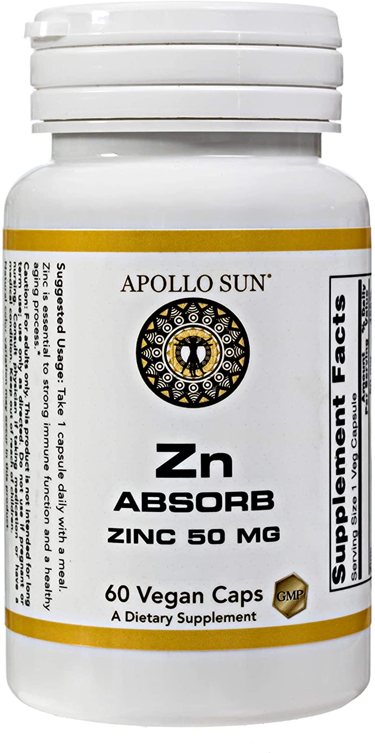 APOLLO SUN Zn Absorb Zinc Picolinate 50 Milligrams / 50,000 Micrograms as a Dietary Supplement (60 Vegan Capsules)