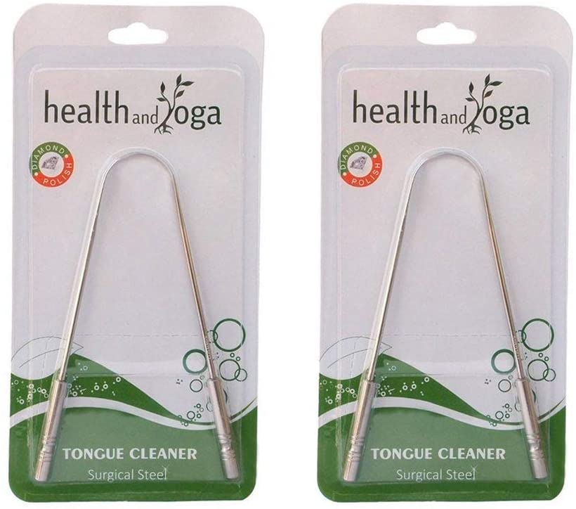 HealthAndYoga(TM) Tongue Cleaner Scraper - Hygienic Seal-Pack – Sterilizable Surgical Steel Tongue Brush (2 Pack with 2 Organic Storage Bags)