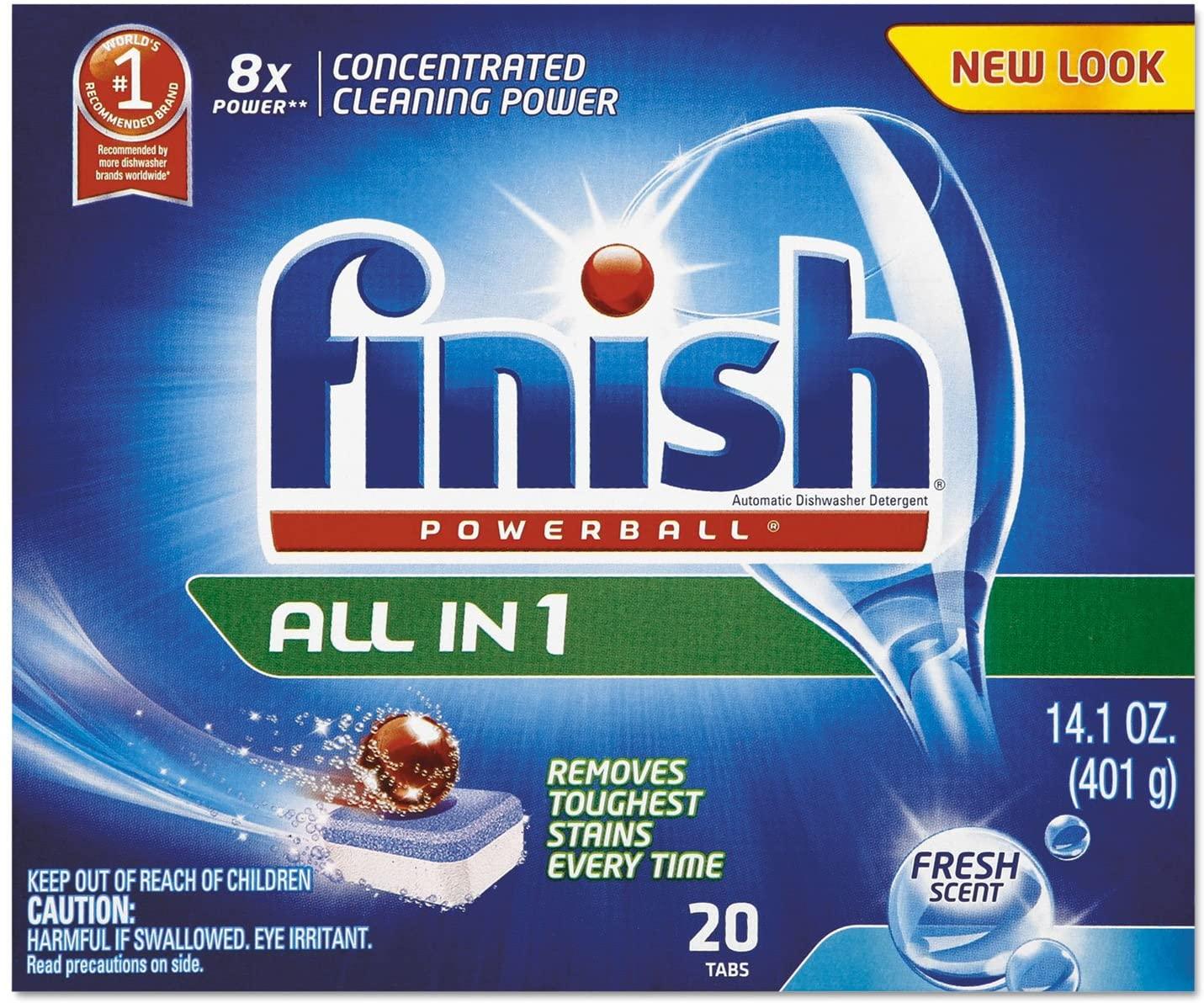 Powerball Dishwasher Tabs, Fresh Scent, 20/Box, 8 Boxes/Carton, Sold as 1 Carton, 160 Each per Carton