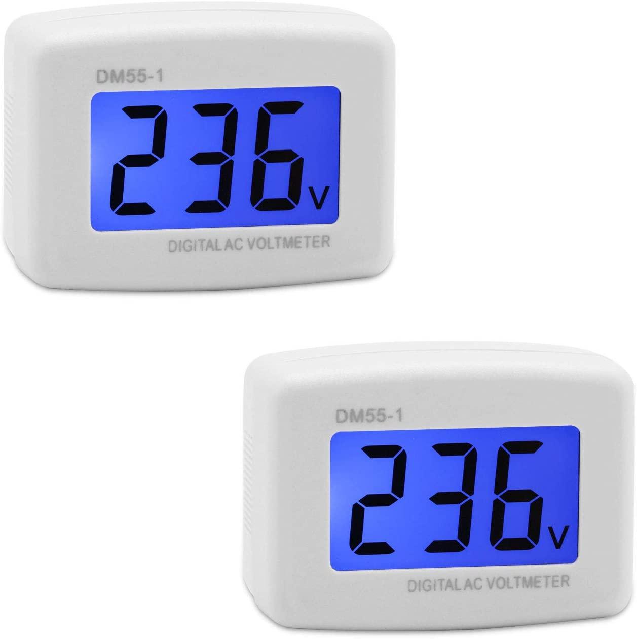 Voltage Test Monitor, DROK 2 pcs Plug In Digital Volt Meter for RV, AC 80-300V Flat US Plug LCD Display Voltmeter 110V 220V Voltage Measuring Monitor Panel Power Line Volt Tester Gauge
