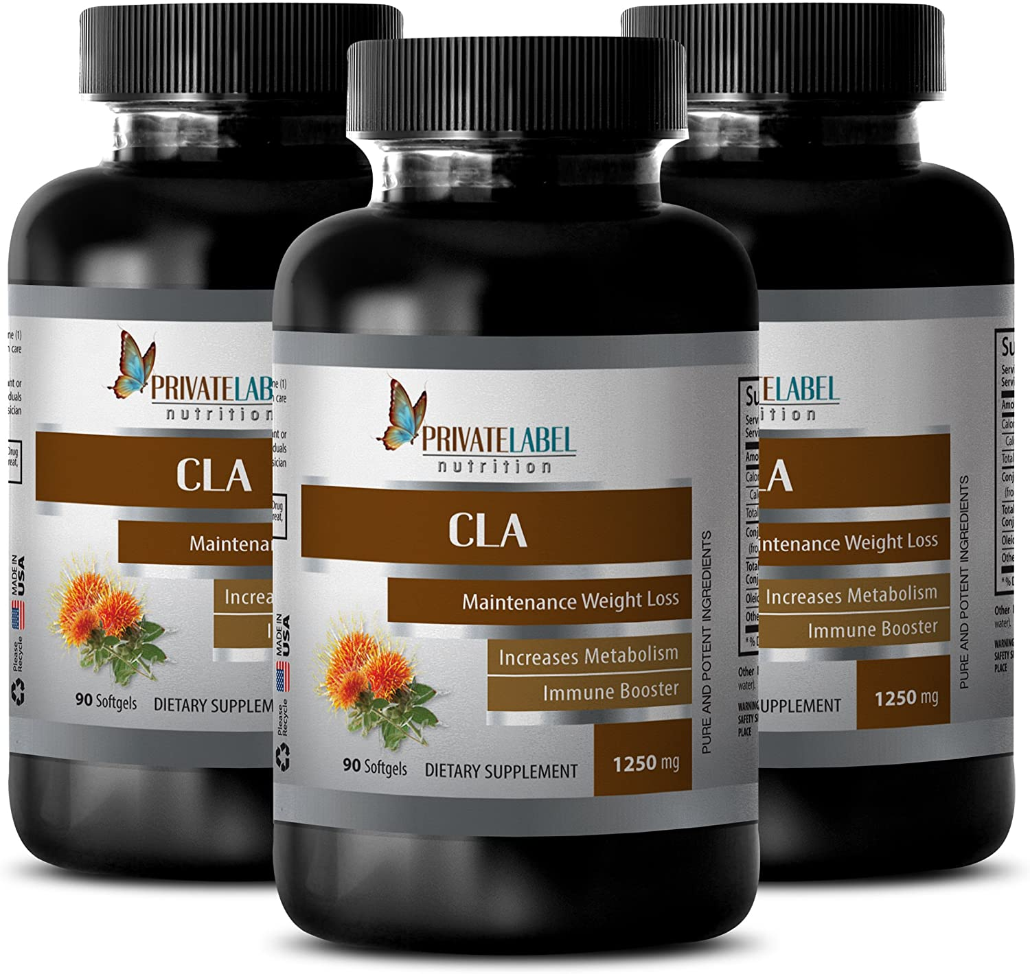 Energy Boost Natural - CLA 1250MG - Safflower Oil - conjugated linoleic Acid weightloss - 3 Bottles (180 Softgels)