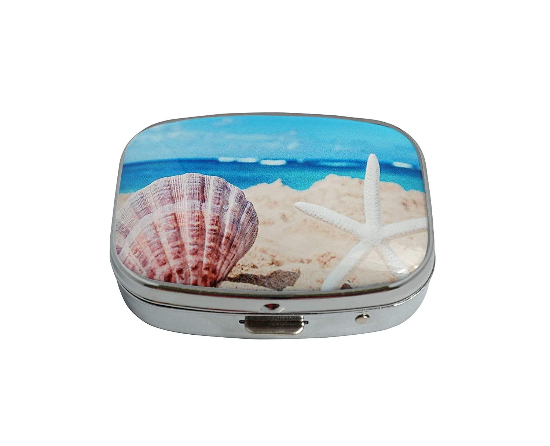 Baoquan Custom Silver Square Glass Pill Case Medicine Vitamin Organizer Pocket Decoration Gift (Starfish with Seashell on The Sandy Beach)