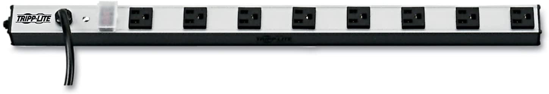 Tripp Lite PS2408 Vertical Power Strip, 8 Outlets, 1 1/2 x 24 x 1/2, 15 ft Cord, Silver