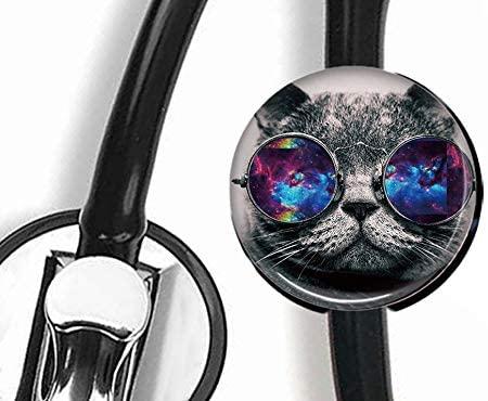 DuDu-Cat Wearing Sunglasses - Stethoscope Tag,Steth ID Tag,Nurse Badge