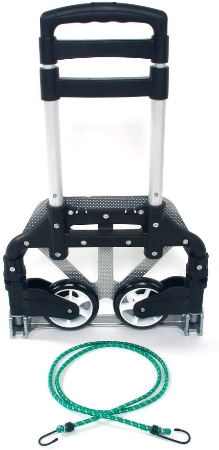 Capacity Folding Hand Truck and Dolly Cart Aluminum Portable Folding Hand Cart with Telescoping Handle and Rubber Wheels Black