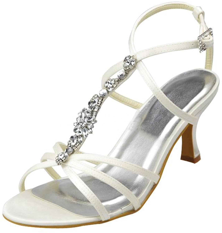 Minishion Girls Womens T-Strap Rhinestones Satin Bridal Wedding Evening Sandals