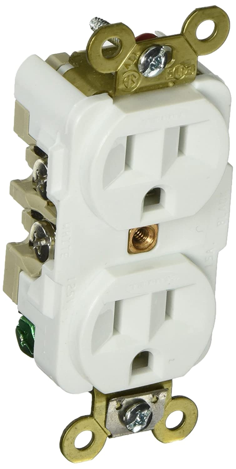 Hubbell HBL5262W Duplex Receptacle, HD Industrial Grade, 15 amp, 125V, 5-15R, White