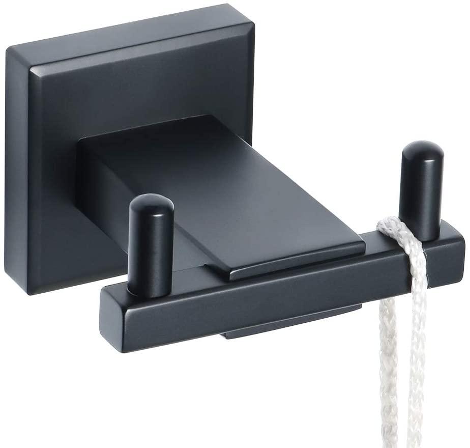 Alise Towel Hooks Bathroom Double Robe Hook Wall Mount Coat Hooks,SUS 304 Stainless Steel Matte Black Finish