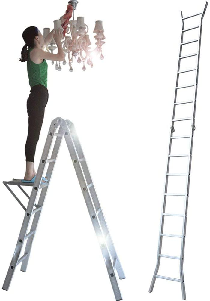 LADDERS Rong Ladders Extendable Telescopic - Aextension Extended Trapezoidal Folding Ladder, Maximum Load 330Lbs Aladder, in Line with En131 and Ce Standards,