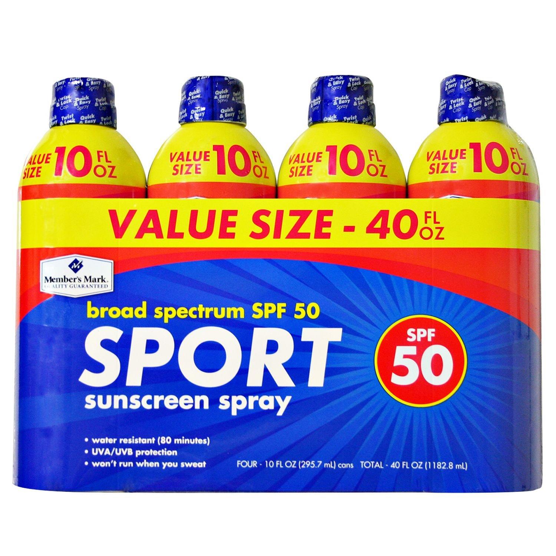 Member's Mark Sport SPF 50 Continuous Spray Sunscreen (10 fl. oz, 4 pk.)