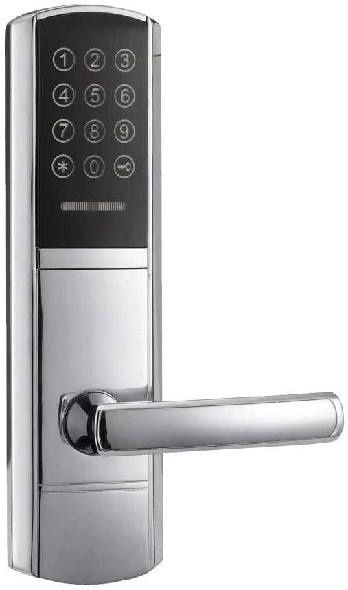Electronic Door Lock Code, 2 ID Cards, 2 Mechanical Keys Touch Screen Keypad Digital Password Lock Keyless , Left Push