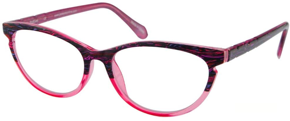 ProEyes Gemini, Progressive Multifocal Reading Glasses, Zero Magnification on Top Lens, Anti Blue Light Resin Lens (Pink, 2.25 x)
