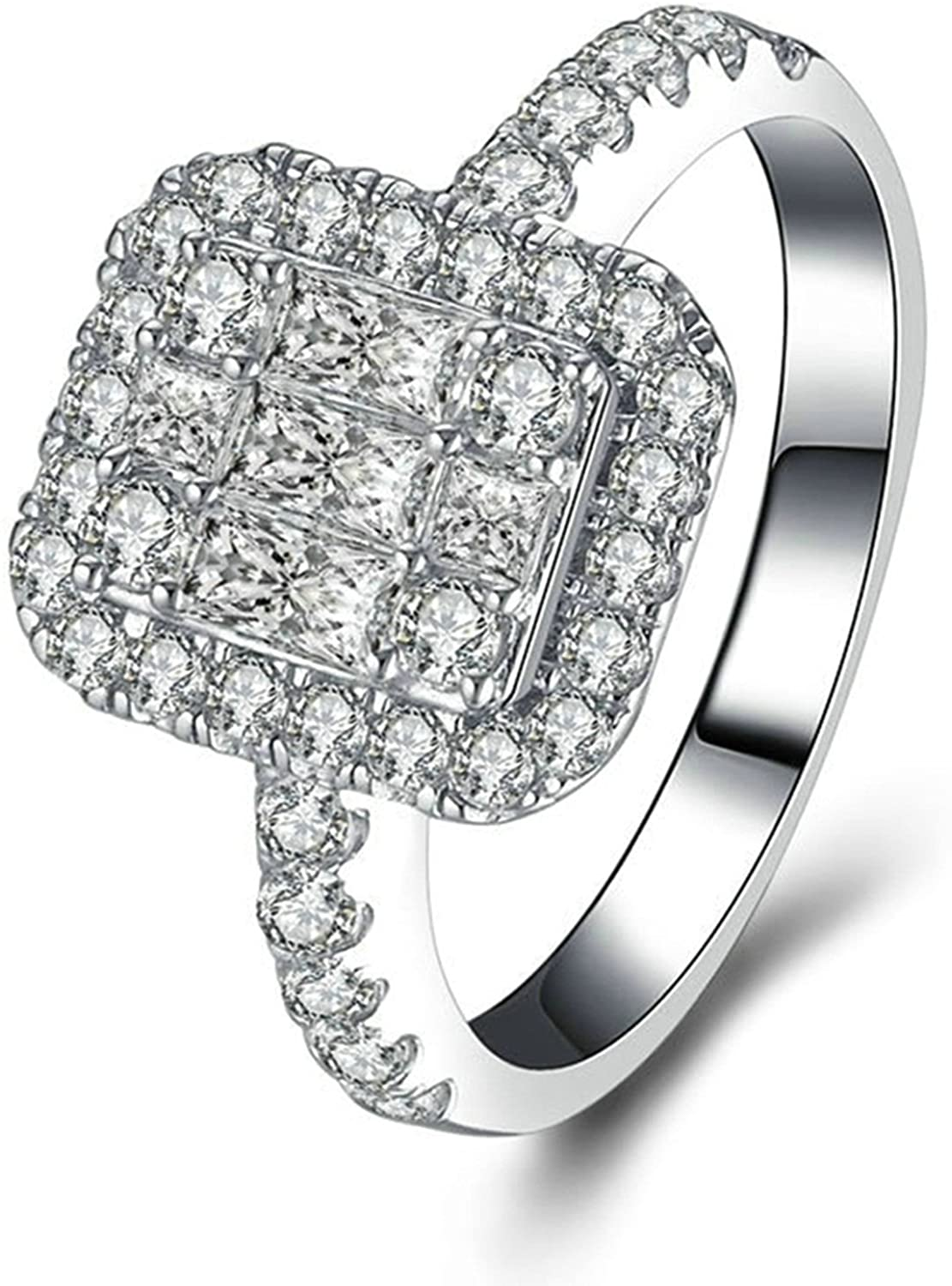 AMDXD Sterling Silver Rings for Women Emerald & Round Cut White Cubic Zirconia Promise Ring for Her