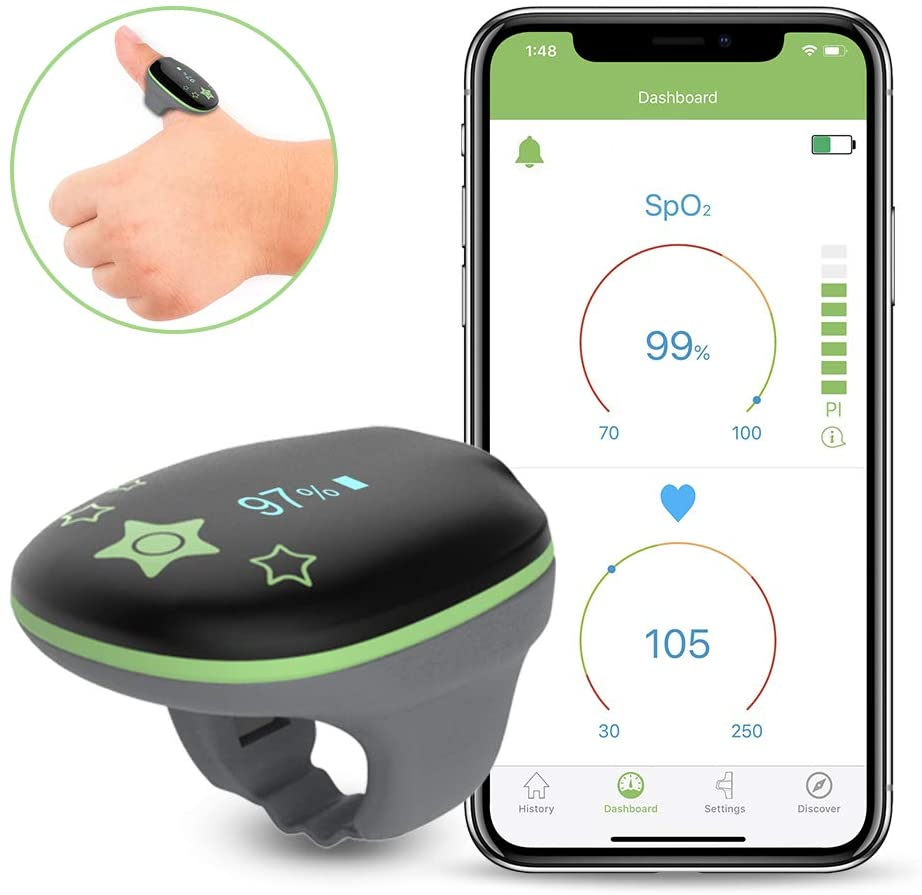 Children Oxygen Monitor, Wireless Blood Oxygen Saturation Monitor For Kids Pediatric Baby, Audio Reminder on Device & Phone APP, PC Software PDF Report, Wearable Oxygen Meter Heart Rate Tracker KidO2