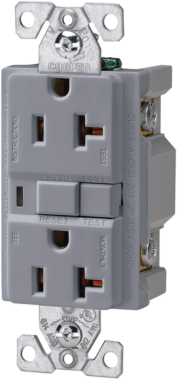 EATON Wiring VGF20GY 20-Amp 2-Pole 3-Wire 125-Volt Duplex Ground Fault Circuit Interrupter, Gray