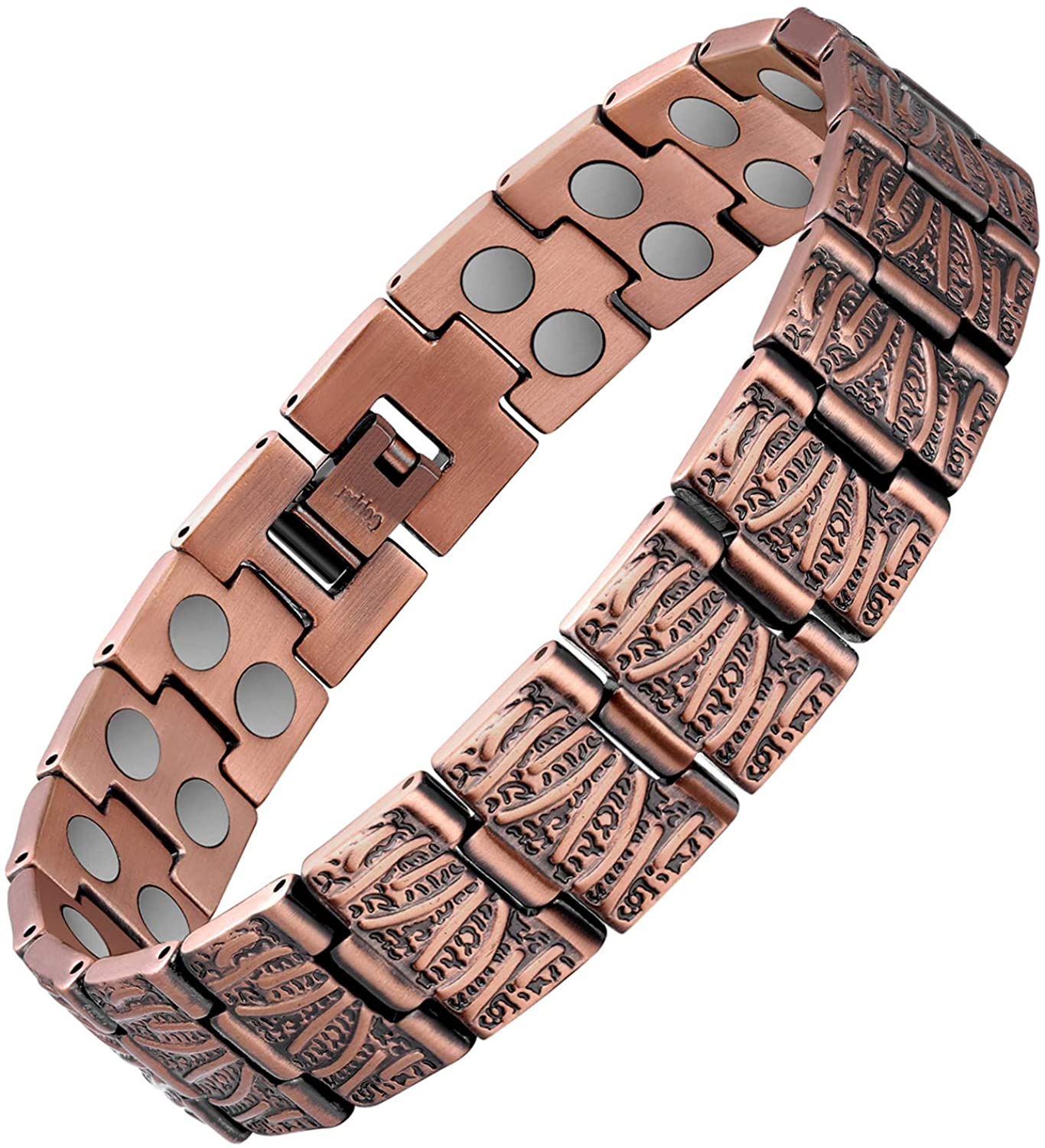 Jecanori Copper Magnetic Bracelet for Men Pain Relief for Arthritis and Carpal Tunnel Syndrome Double Raw 3500 Gauss Magnets 99.9% Copper Therapy Healing Bracelet
