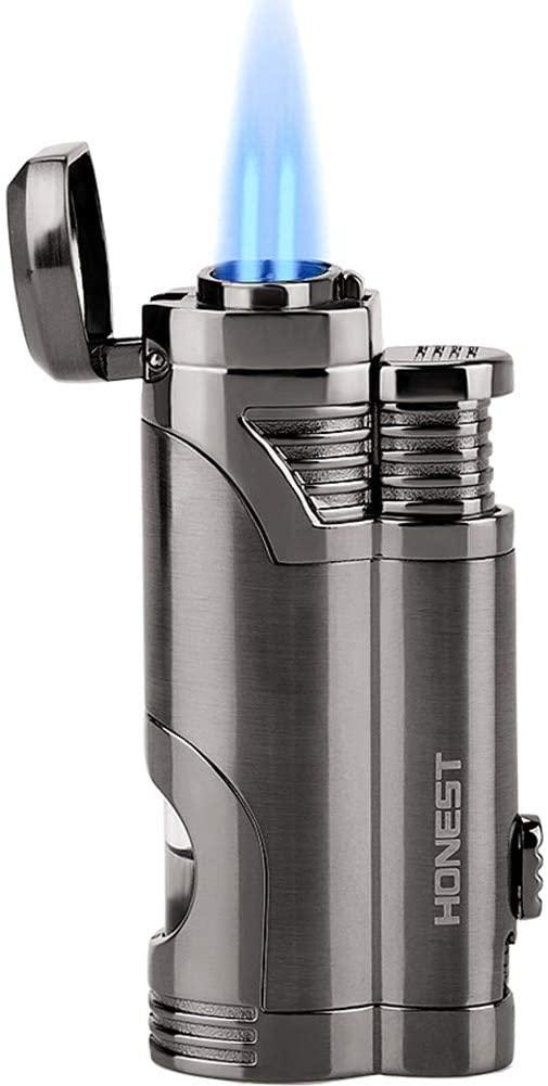 Torch Lighter Dual Jet Flame Refillable Butane Lighter Windproof Lighter with Punch - Butane Not Included