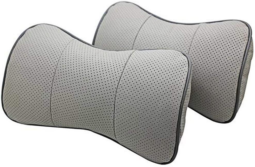 SZSS-CAR 2 Pcs Genuine Leather Bone-Shape Car Seat Neck Rest Headrest Comfortable Pillow Cushion for Toyota Prado Corolla Yaris Rav4 Camry (Grey)