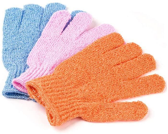 1Pcs Shower Gloves Exfoliating Wash Skin Spa Bath Gloves Foam Bath Skid Resistance Body Massage Cleaning Loofah Scrubber,Random