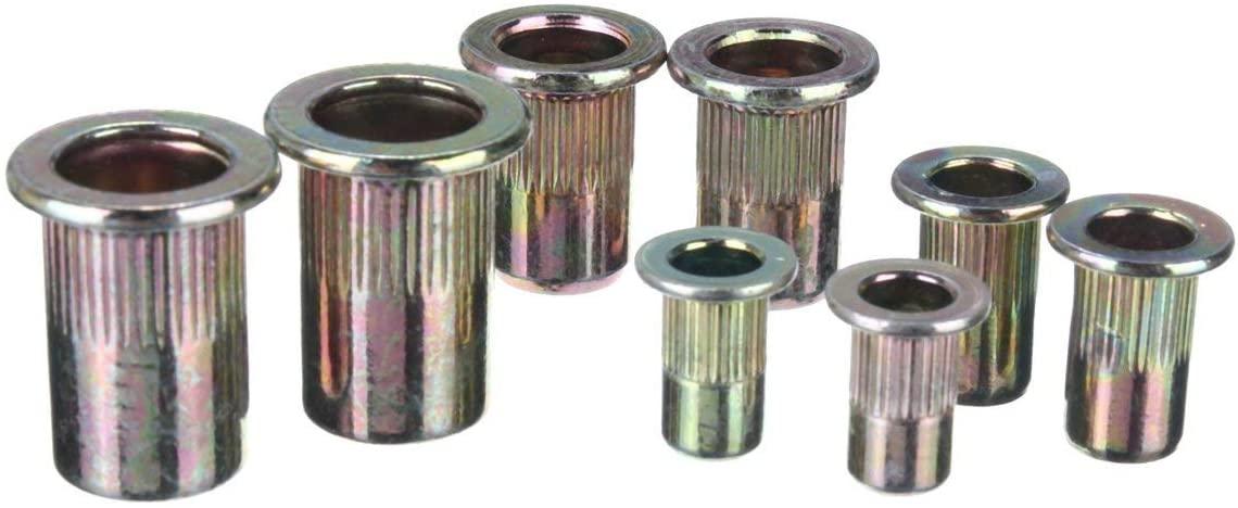 CSJ-CSJ 100Pcs M4/5/6/8 Mixed Threaded Carbon Steel Rivet Nut Rivnut Inserts Nuts Screws