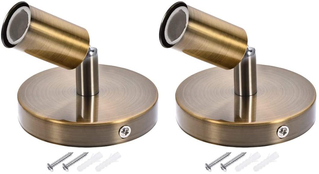 uxcell 180 Degree E14 Bulb Holder Socket Ceiling Lamp Wall Mounted Light 100x20mm Gold Copper 2pcs