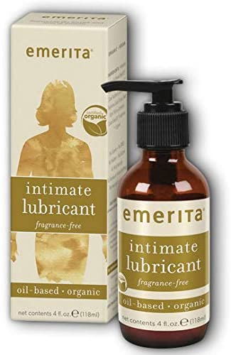Emerita Intimate Lubricant | Lubricant for Women | Vitamin E For Healthy Skin Support | Vegan, Without Parabens (4oz Oil-Based, Unscented)